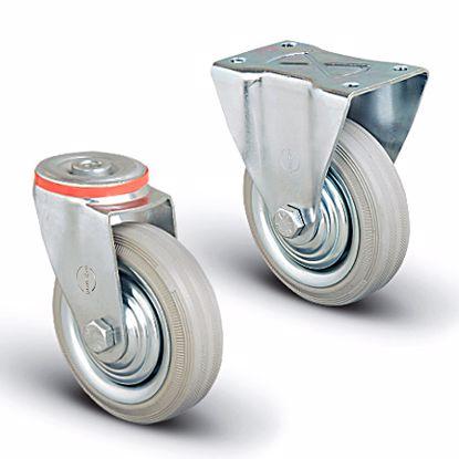 Obrázek Průmyslové kolečko s ocelovým diskem, jehlové ložisko, šedá pryž (s ochranným střed. diskem)